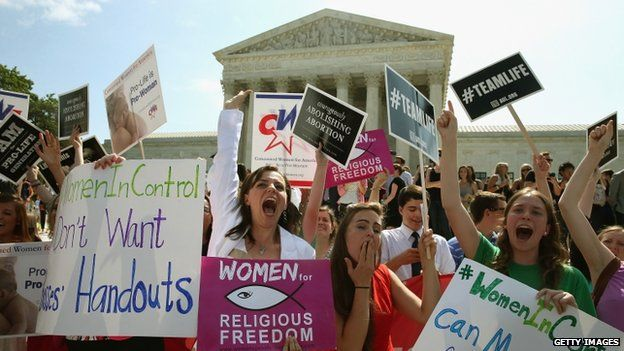 Hobby Lobby supporters reacted to the US Supreme Court Hobby Lobby decision on 30 June 2014
