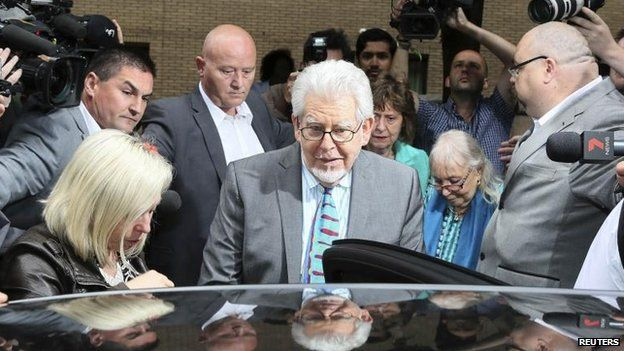 Rolf Harris leaving Southwark Crown Court after the verdicts on 30 June 2014