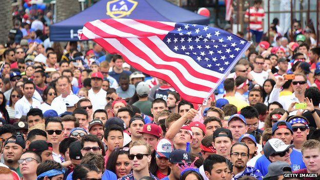 California fans watch a World Cup game - with a big US flag