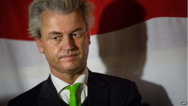 Dutch right-wing PVV leader Geert Wilders attends a meeting in a bar in Scheveningen, the Netherlands, on 22 May 22