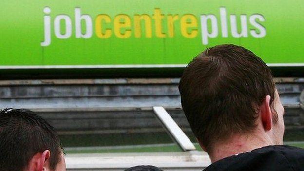 Young men outside a Job Centre Plus
