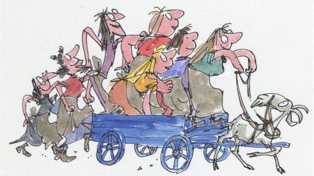 Illustration from John Yeoman's The Wild Washerwomen