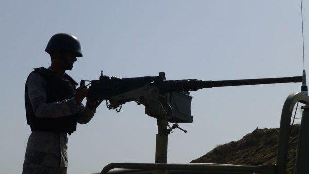 Army guard on the Saudi Arabian border
