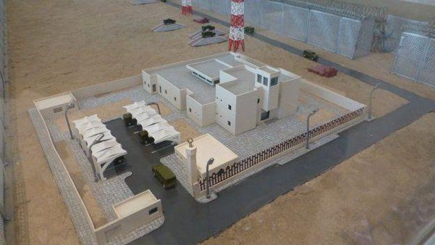 Model in a glass case of Saudi Arabia's border defences with Iraq
