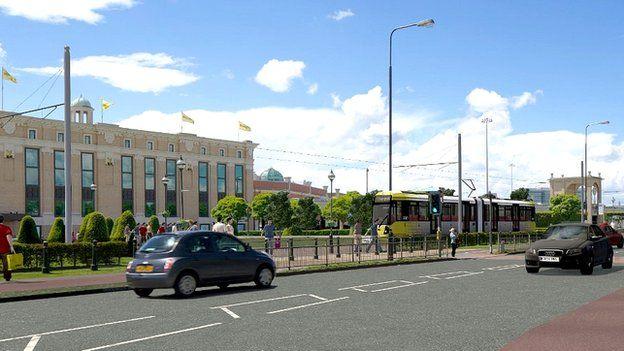 CGI of new station at Trafford Centre