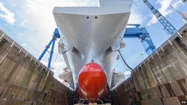 HMS Queen Elizabeth at Rosyth dockyard in Scotland
