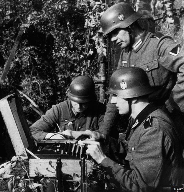 German soldiers using a coding machine