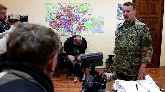 Igor Strelkov, military commander of pro-Russian militias in Sloviansk talking to journalists in Sloviansk, April 27
