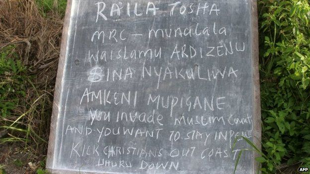 Sign left in Lamu, Kenya (6 July 2014)