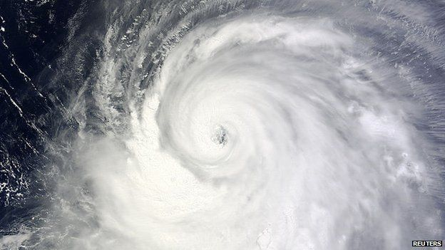 A Moderate Resolution Imaging Spectroradiometer (MODIS) image from NASA's Terra satellite shows Typhoon Neoguri in the Pacific Ocean, approaching Japan on its northward journey on 6 July, 2014