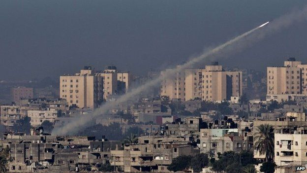 A rocket is fired by Palestinian militants in Gaza in November 2012