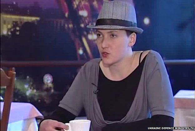 Nadia Savchenko speaks in a feature report by Ukrainian Defence Ministry TV