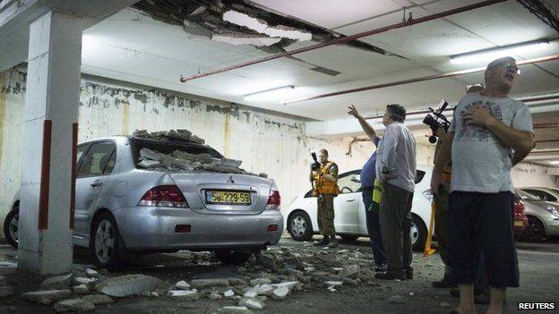 Rocket fire in Ashdod, Israel, 10 July