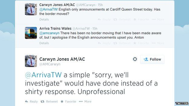 Exchanges between Carwyn Jones and Arriva Trains Wales