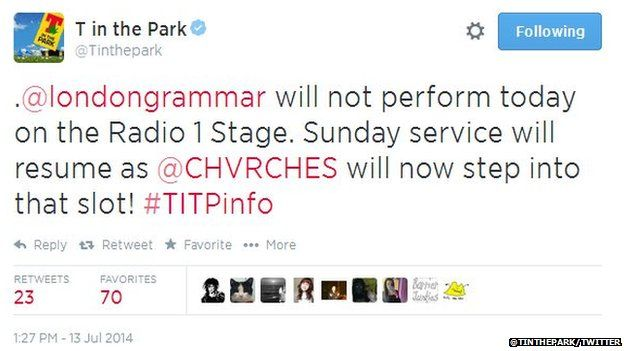 T in the Park tweet
