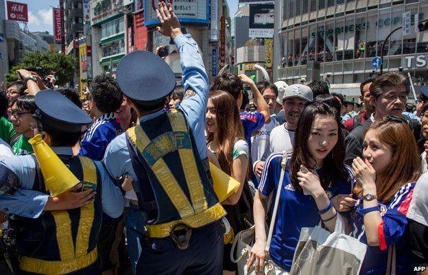 Police at Shibuya after a football match