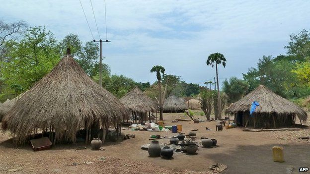 Thatched huts in the town of Kir in Gambella, Ethiopia (22 March 2012).