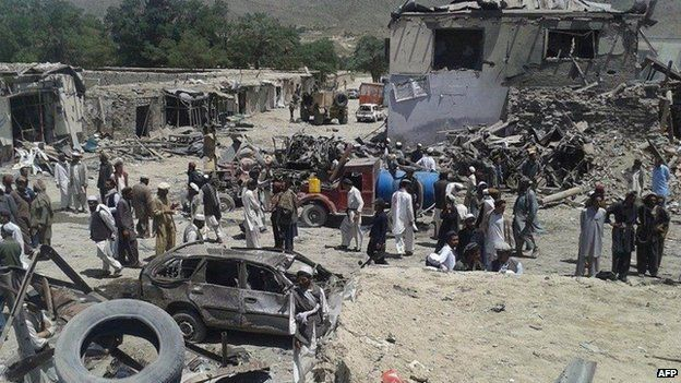 Scene of the blast in Orgun district. Photo: 15 July 2014