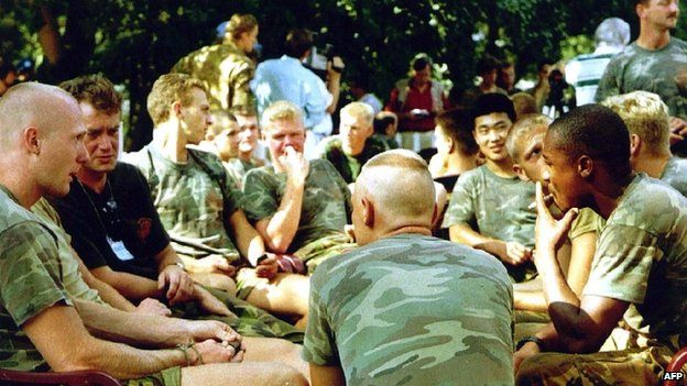 A file photo taken on 16 July 1995 shows Dutch soldiers of the Dutchbat troops in Potocari, Bosnia.