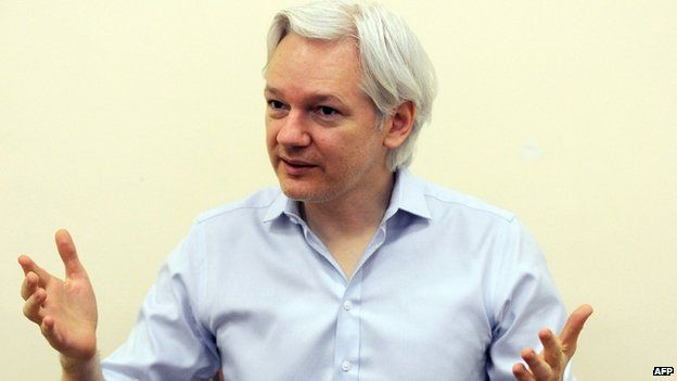 Wikileaks founder Julian Assange speaking to the media inside the Ecuadorian Embassy in London, ahead of the first anniversary of his arrival there on 19 June 2012.