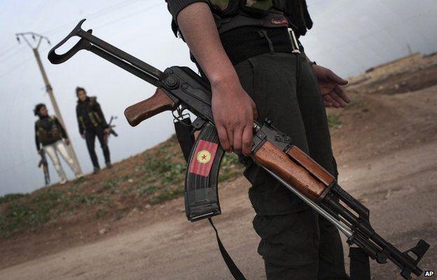 Kurdish YPG militia fighters near Qamishli, Syria (file)