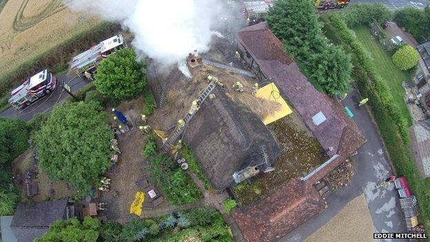 Fire at The Gribble Inn in Oving
