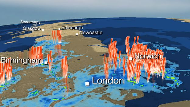 BBC Weather graphic of lightning storms