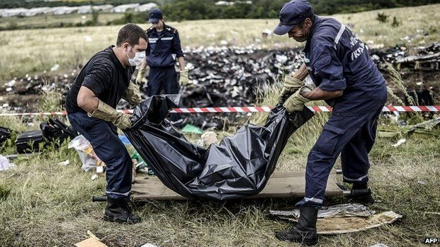 Rescue workers collect bodies of victims at the site of the crash in Grabove - 20 July 2014
