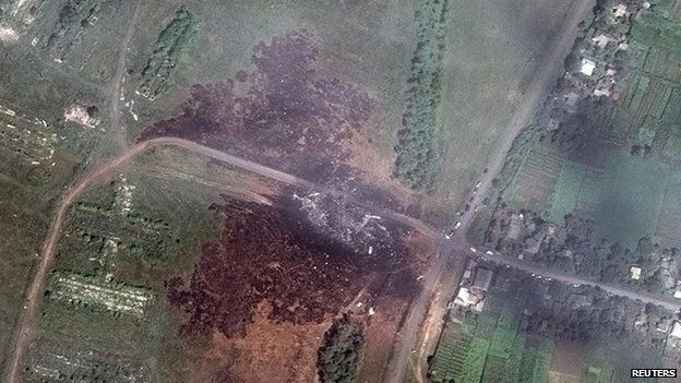 A satellite image shows the crash site of Malaysia Airlines flight MH17 in Ukraine - 20 July 2014