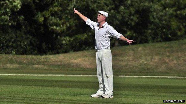 Damian Lewis playing cricket