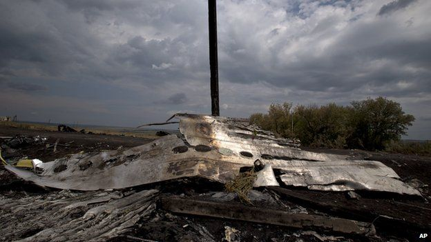 Flowers lie on the wrecked fuselage at the crash site of Malaysia Airlines Flight 17 near the village of Grabove, eastern Ukraine (22 July 2014)