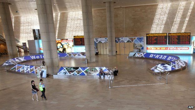 Empty arrival lounge of Ben Gurion international airport, near Tel Aviv, on 23 July 2014