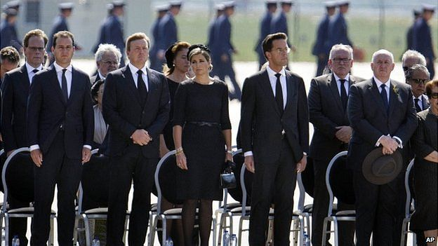 Members of the Dutch royal family and Prime Minister Mark Rutte. 23 July 2014