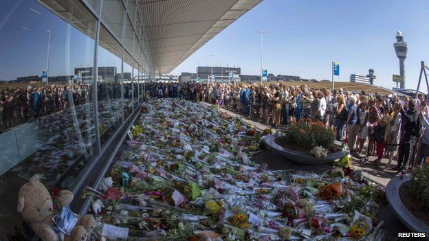 Flowers left at Schiphol Airport