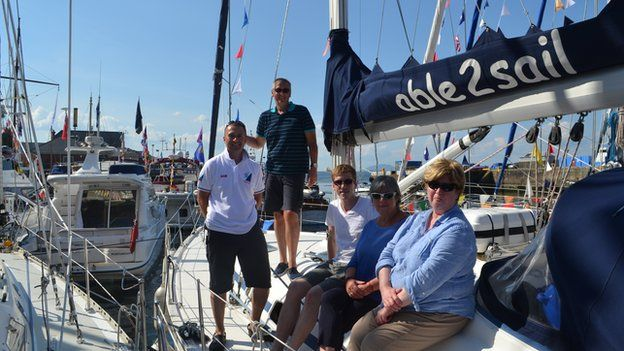 Gerry Campbell and volunteers on Able to Sail