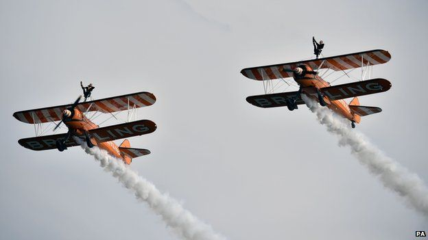 The Breitling Wingwalkers perform over the seafront at Seaburn