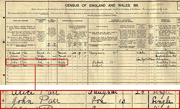 1911 census showing the Parr family in North Finchley