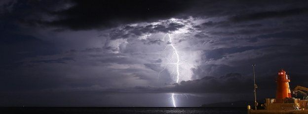 Storm at sea, near site of Costa Concordia sinking