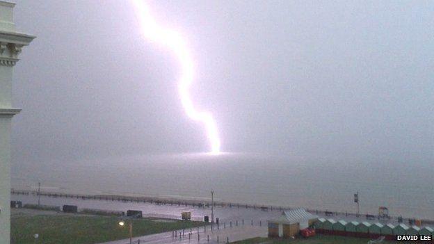 Lightning strike off Hove seafront