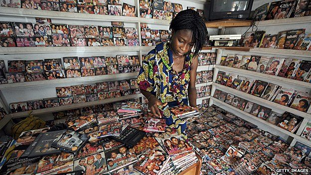 Woman shops for DVDs