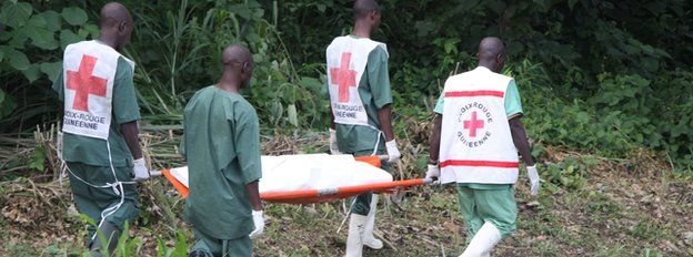 Red Cross workers conduct a burial, Guinea - July 2014