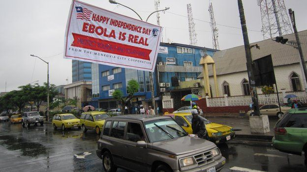 A banner creating awareness about Ebola in Monrovia, Liberia (28 July 2014)
