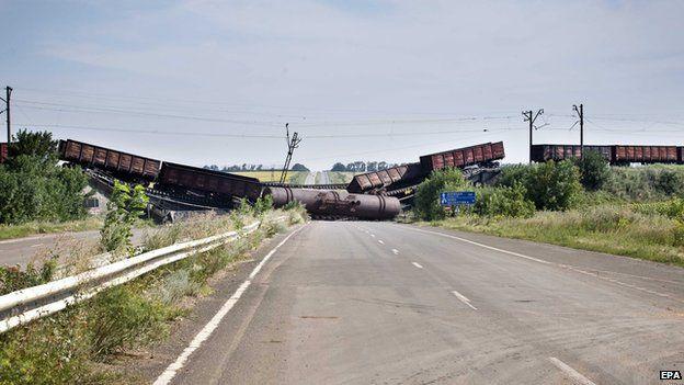 Damaged railway bridge in Ukraine