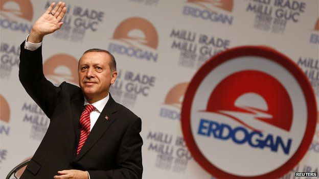 Turkish Prime Minister Recep Tayyip Erdogan at the launch of his presidential campaign on 11 July 2014.