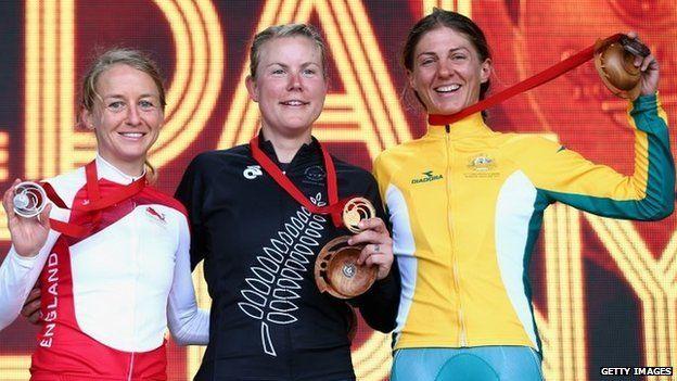 Emma Pooley of England, Linda Villumsen of New Zealand and Katrin Garfoot of Australia
