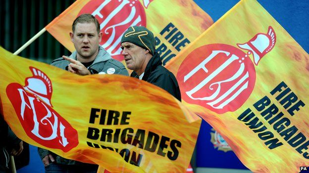 Firefighters on the picket line