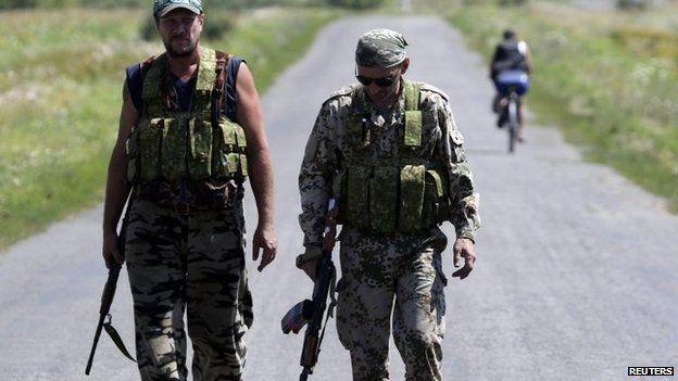 Pro-Russian rebels in Hrabove, east Ukraine, 1 Aug