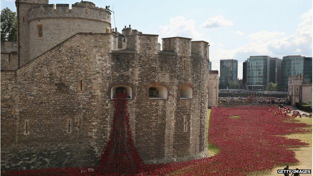 Poppies planted in the moat at the Tower of London
