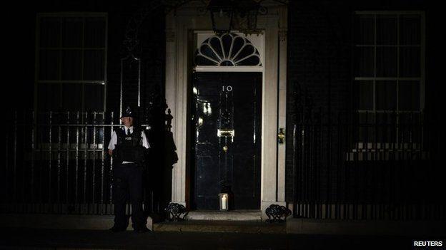 Lantern outside Downing Street