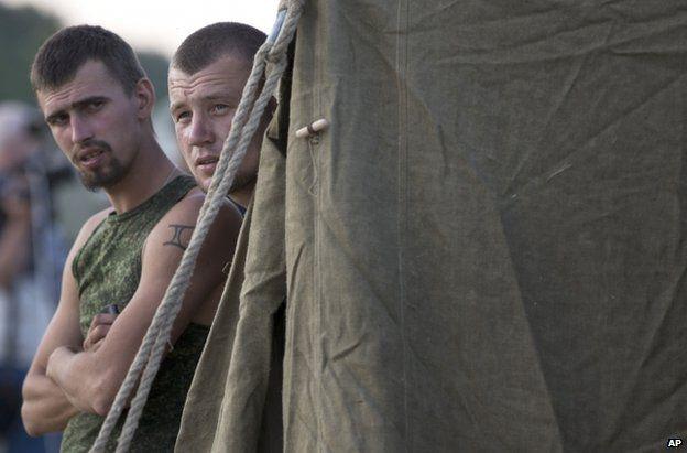 Ukrainian soldiers in the Russian camp near Gukovo, 4 August